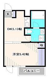 西武新宿線 田無駅 徒歩5分の賃貸マンション 3階1DKの間取り