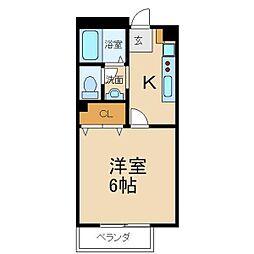 大阪府枚方市香里園山之手町の賃貸アパートの間取り