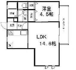兵庫県姫路市四郷町見野の賃貸アパートの間取り