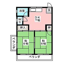 第二八名荘[4階]の間取り