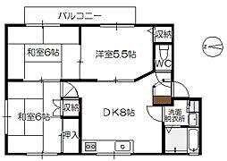 ルパルクA棟[2階]の間取り