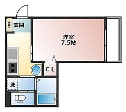 阪急宝塚本線 三国駅 徒歩9分の賃貸アパート 2階1Kの間取り