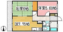 リベラルハイツ4階Fの間取り画像