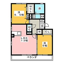 愛知県豊橋市花田町字西郷の賃貸アパートの間取り