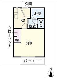 ピースエイト[1階]の間取り