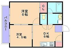 ビバリーハウス南福岡6B[3階]の間取り