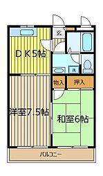 埼玉県富士見市鶴瀬東2丁目の賃貸アパートの間取り