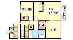 フレッツァ神戸山田[A-205号室]の間取り