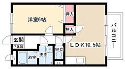 愛知県尾張旭市新居町上の田の賃貸アパートの間取り