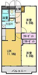 グリーンコート加古川2番館[205号室]の間取り