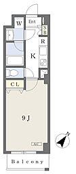 メルヴェール京王堀之内 2階1Kの間取り