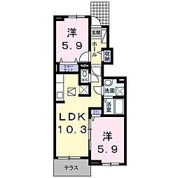 ロータス南島田C[103号室]の間取り