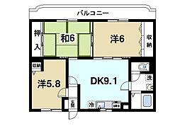 フルーエントIV(4) 3階3DKの間取り