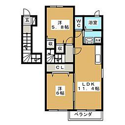 フォレスト舘A[2階]の間取り