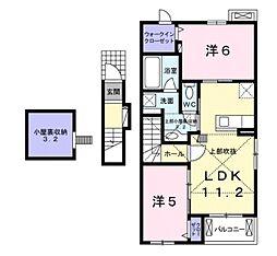 滋賀県甲賀市水口町新城の賃貸アパートの間取り