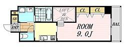 アローフィールズ弐番館 9階1DKの間取り