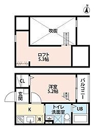 愛知県名古屋市中川区馬手町2丁目の賃貸アパートの間取り