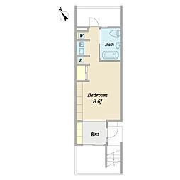 FAWN HOUSE 地下1階ワンルームの間取り