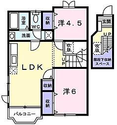 愛媛県松山市朝美2丁目の賃貸アパートの間取り