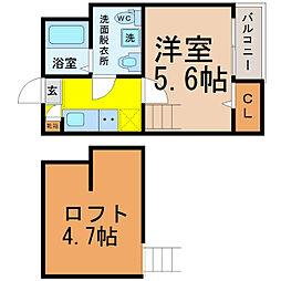 愛知県名古屋市中村区稲上町4丁目の賃貸アパートの間取り