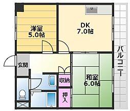 エスポワールイワタ2 2階2DKの間取り
