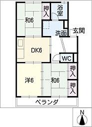 愛知県安城市古井町亀山の賃貸アパートの間取り