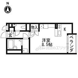 阪急京都本線 西山天王山駅 徒歩10分の賃貸アパート 2階ワンルームの間取り