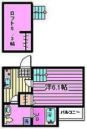 埼玉県さいたま市見沼区東大宮4丁目の賃貸アパートの間取り