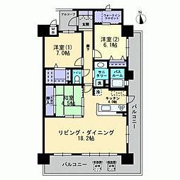 岡山県倉敷市寿町の賃貸マンションの間取り