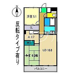 フィネス北久保 B棟[5階]の間取り