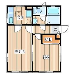 泉区中田東 KHハイツ101号室[2階]の間取り