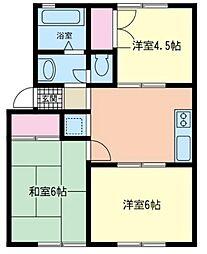 神奈川県茅ヶ崎市小和田1丁目の賃貸アパートの間取り