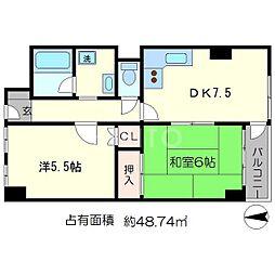 京福修学院マンション[6階]の間取り