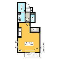 [新築] サニーコート スリーリバー 1階ワンルームの間取り