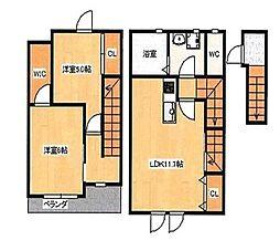 JR山陽本線 庭瀬駅 徒歩16分の賃貸アパート 2階2LDKの間取り