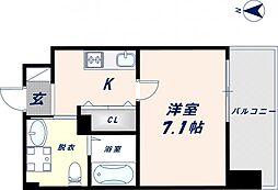 JPRESIDENCE大阪城東II 3階1Kの間取り