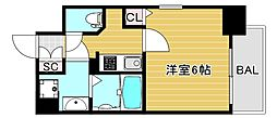 Osaka Metro中央線 九条駅 徒歩6分の賃貸マンション 13階1Kの間取り