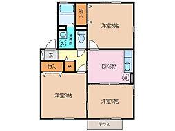 三重県四日市市楠町小倉の賃貸アパートの間取り