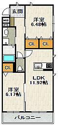 シャーメゾン山本丸橋A棟[3階]の間取り