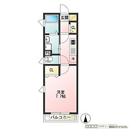 京王井の頭線 下北沢駅 徒歩7分の賃貸アパート 2階1Kの間取り