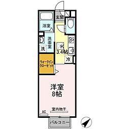 愛知県西尾市川口町平池の賃貸アパートの間取り