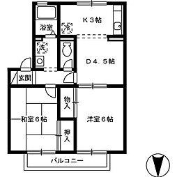 ハイカムール松本[1階]の間取り