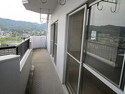 バルコニー対象住戸のバルコニーです。二面バルコニーなので、風通しや陽当たりも良いですね。