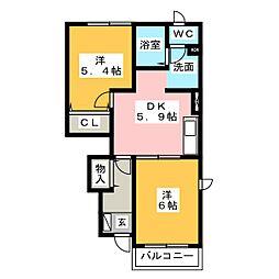 プチヴェール[1階]の間取り
