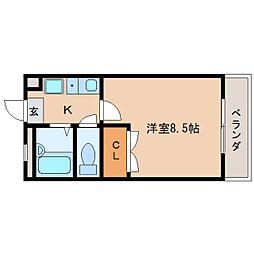 奈良県奈良市西九条町1丁目の賃貸マンションの間取り