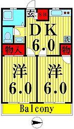ニュー澤田ハイツB[202号室]の間取り