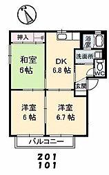 山口県下関市清末千房3丁目の賃貸アパートの間取り