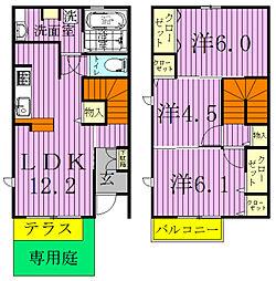 [タウンハウス] 千葉県松戸市八ケ崎7丁目 の賃貸【/】の間取り