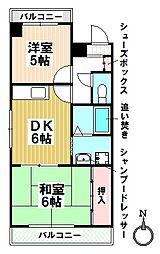 愛知県名古屋市瑞穂区松園町1の賃貸マンションの間取り