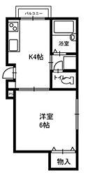 神奈川県横浜市金沢区釜利谷西1丁目の賃貸アパートの間取り